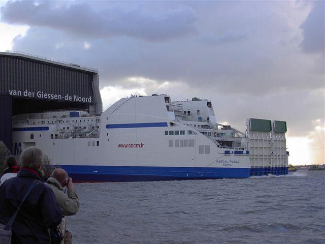 Lancement à Rotterdam du PASCAL PAOLI, futur navire mixte pour la SNCM (Photo RDV)
